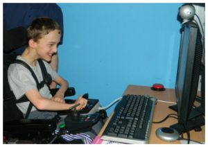 a young client using his computer